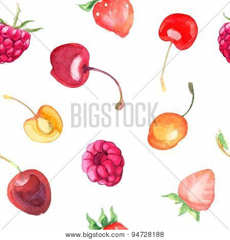 seamless pattern with raspberry, sweet cherry, cherry, strawberry on white background