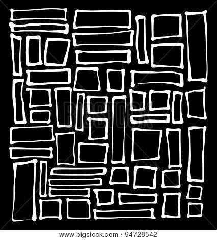 Hand-drawn Rectangle And Square White Shapes Over Black
