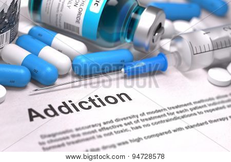 Diagnosis - Addiction. Medical Concept. 3D Render.