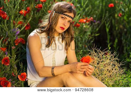 Fashionable Girl In The Summer Field