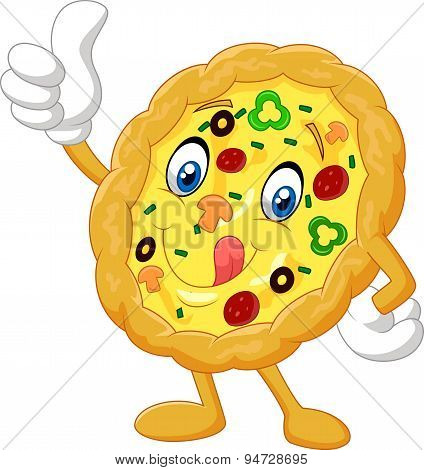 Pizza cartoon give thumb up