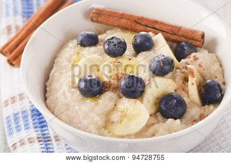 Oatmeal With Fresh Blueberries For   Breakfast.