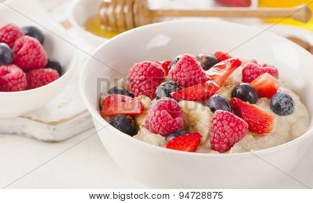 Homemade Oatmeal Porridge With Fresh Berries For  A Healthy Breakfast.
