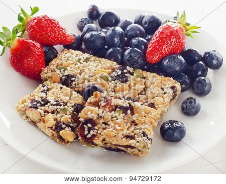 Granola Bars With Fresh Berries For A Healthy Breakfast.