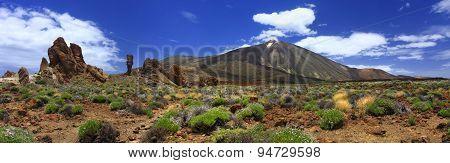 Panoramic Image Of The Volcano Teide On The Island Of Tenerife