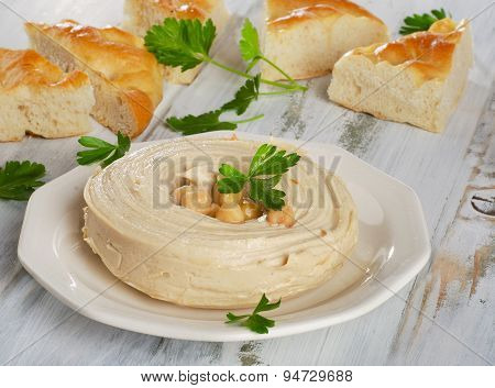 Plate Of A Healthy Homemade Creamy Hummus.
