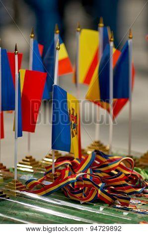 Moldova Flag Pattern On The Fabric Texture ,vintage Style