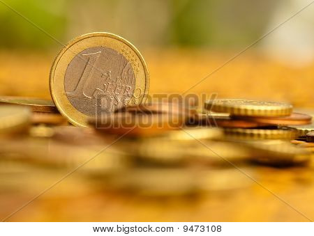 Euro Coins On Wicker