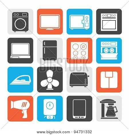 Silhouette home appliance icons
