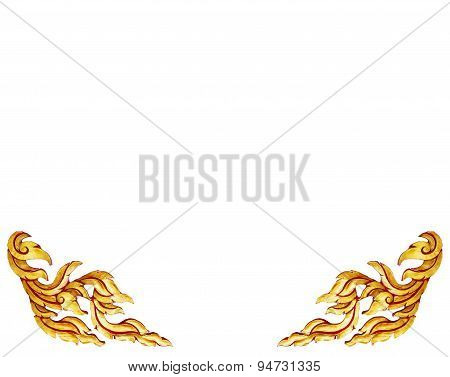 Old Antique Gold Frame Wooden Doors Thai Style Pattern Isolated On White Background