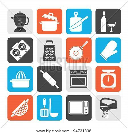 Silhouette cooking tools icons