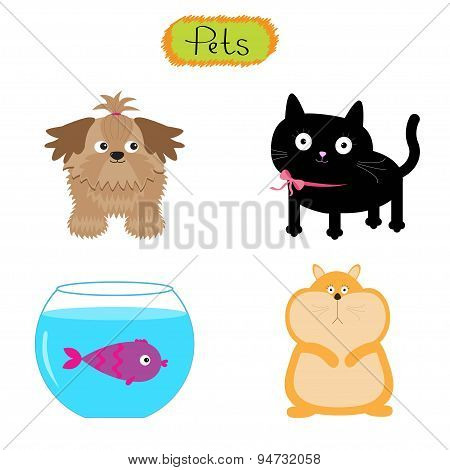 Vector Pets Illustration Isolated Cute Set White Background Cat, Dog, Fish, Hamster Flat Design