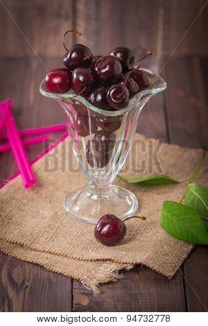 Fresh Sweet Cherry In A Glass Bowl