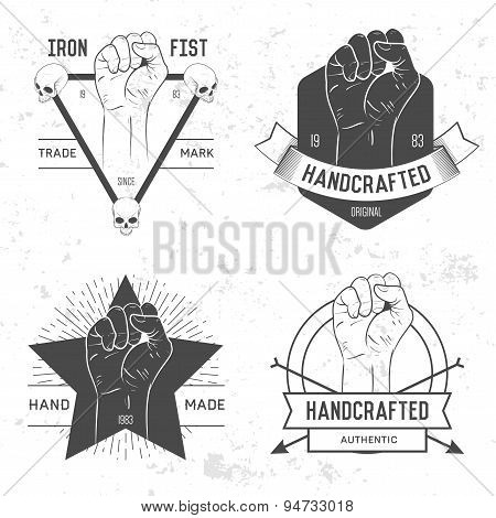 Retro vintage badge, symbol or logotype with hand. For design elements, business signs, logos, ident