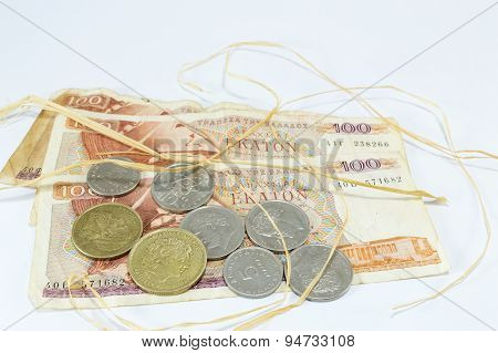 Greek Old Currency Drachma Banknotes With Straw