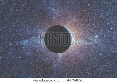 Space sunrise with space shuttle and galaxy background.