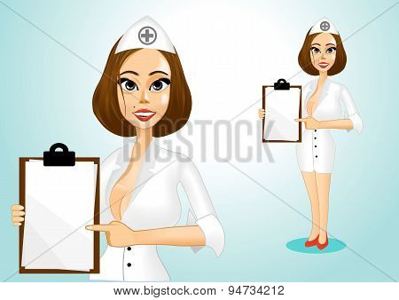beautiful doctor holding clipboard