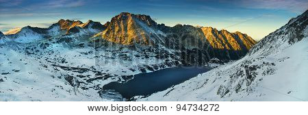 Panoramic Winter View Of The Five Lakes Valley In Tatra Mountain