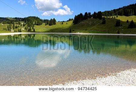 Beautiful Alpine Lake With The Mountains And The Trees