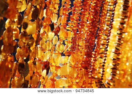 Closeup Of Amber Jewelry