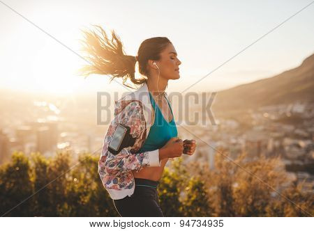 Beautiful Young Woman Out For A Run