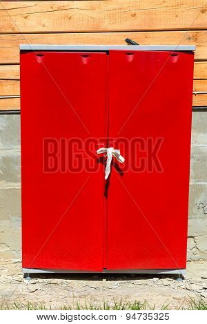 Red Technical Cabinet In The Street