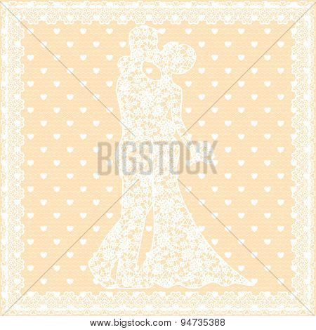 bride, groom and lace