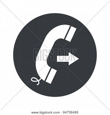 Monochrome round outgoing call icon