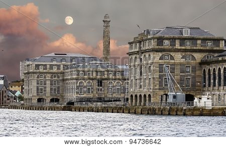 Stone Buildings In The Port Of Plymouth, England.