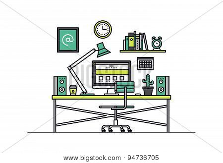 Web Designer Workplace Line Style Illustration