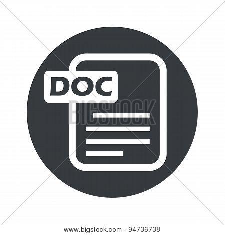 Monochrome round DOC file icon