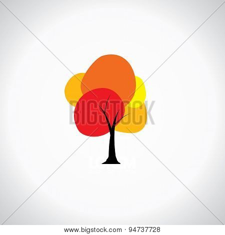 Colorful Unique Tree With Vibrant Leaves - Abstract Concept Vector Icon