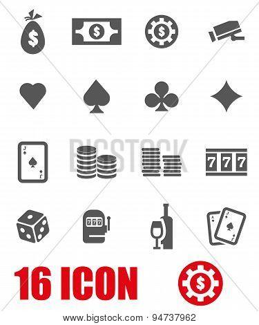 Vector grey casino icon set