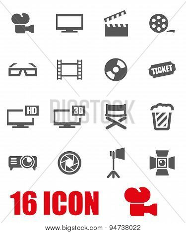 Vector grey cinema icon set