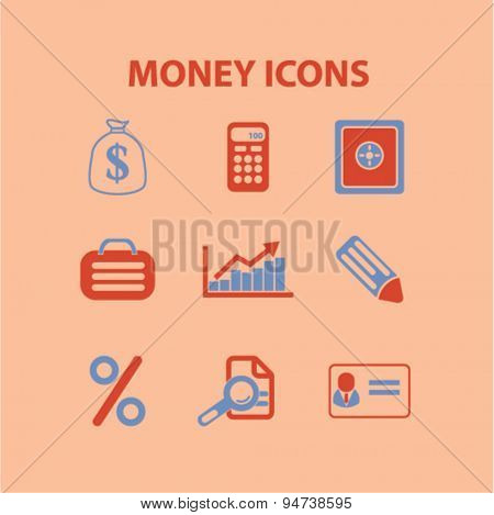 money icons, illustrations