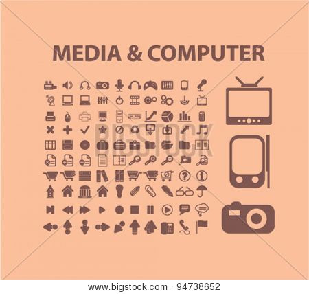media, compiter icons, illustrations
