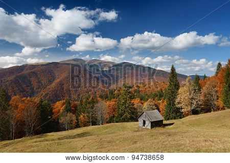 Autumn landscape on a sunny day. Wooden cottage in the mountains. Carpathians, Ukraine. Europe