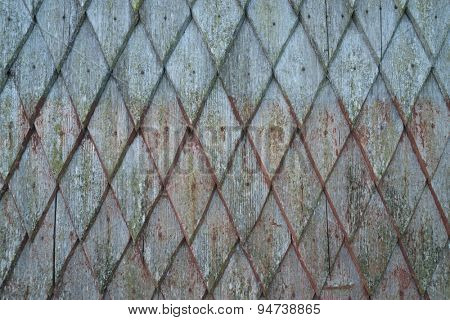 Facade of old wooden house. The pattern of shabby planks. Abstract texture for design