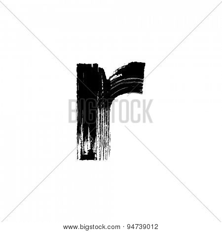 Vector hand paint letter r. Hand drawn letter with dry brush. Lower case