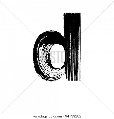 Vector hand paint letter d. Hand drawn letter with dry brush. Lower case