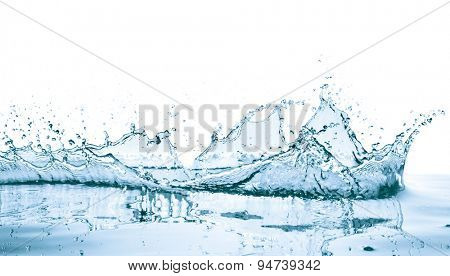 water splash with reflection, isolated