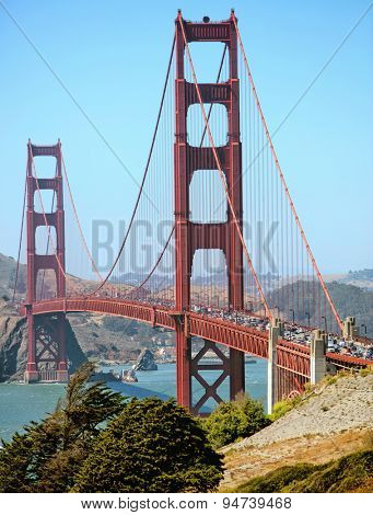 Heavy traffic crossing the Golden Gate Bridge in San Francisco