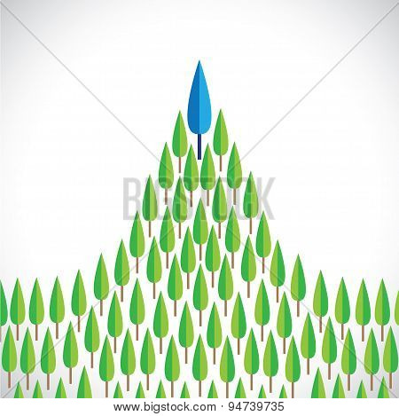 Flat Vector Design Of Pine Trees With One Tree As Winner