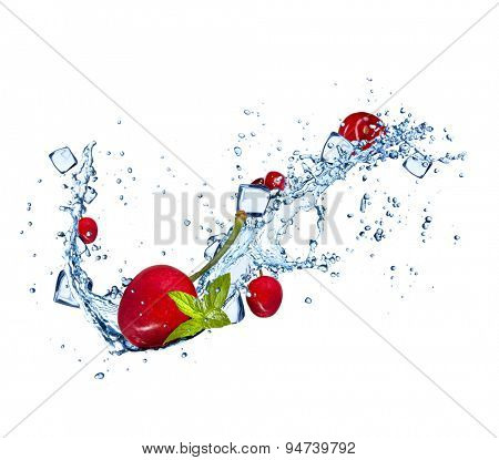 Cherries in water splashes and ice cubes isolated on white background