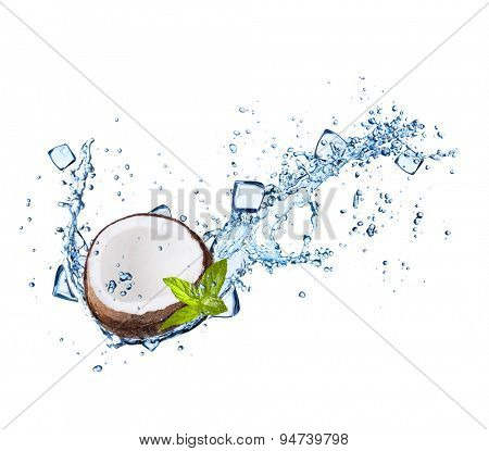 Coconut in with water splashes and ice cubes isolated on white background