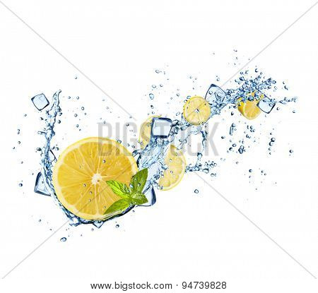 Lemons slices in water splashes and ice cubes isolated on white background