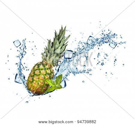 Pine-apple in water splashes and ice cubes isolated on white background