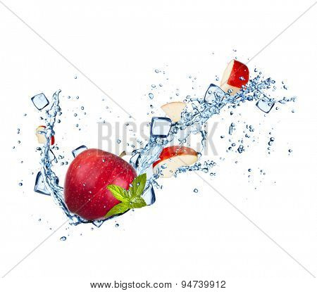 Red apples with water splashes and ice cubes isolated on white background