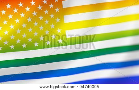 US flag in rainbow colors.