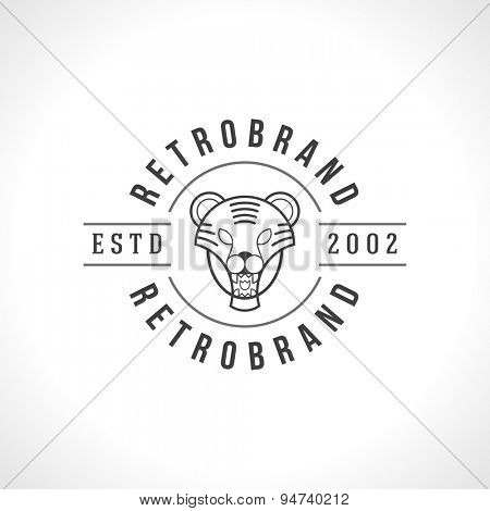 Vintage Tiger face Line art logotype emblem symbol. Can be used for labels, badges, stickers, logos vector illustration.
